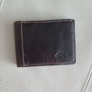 Fossil brown leather money clip bifold wallet